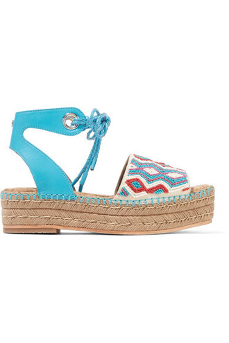 embellished sandals leather blue bright shoes