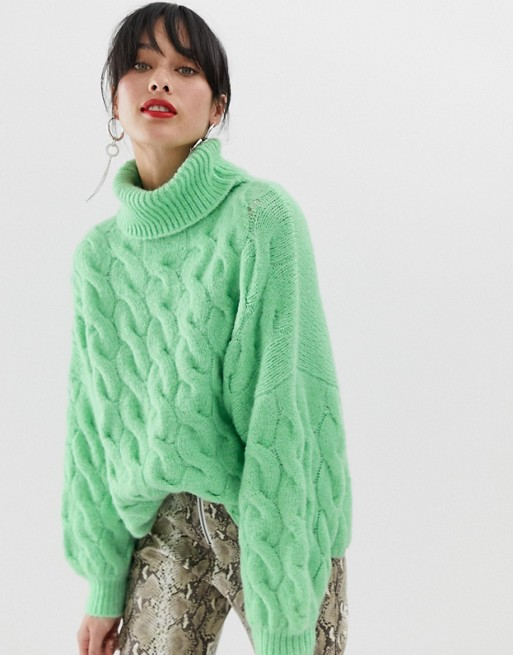 Stradivarius cable roll neck jumper in green at asos.com