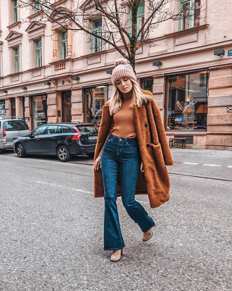 coat tumblr brown coat teddy bear coat top sweater denim jeans blue jeans flare jeans beanie pom pom beanie