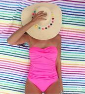 swimwear,hat,tumblr,one piece swimsuit,pink swimwear,bandeau swimsuit,sun hat