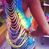 tank top,tie dye,slash,ripped,summer,t-shirt,colorful,shorts,skirt,shirt,bracelets,open back,funny,style,fashionista,fashion,blue,yellow,pink,purple,dip dyed,white tank top,rainbow,pretty,rainbow shirt,slashed,back,blouse,aztec top,aztec,summer outfits,swim cover up,muscle tee,cut-out,multicolor,sexy,classy,swag,glamour,green,mini shorts,jeans,jewels,arcoiris,customized,girl,cut up,top,crop tops,tie dye shirt,rainbow tanktop,clothes,lovely,hipster,tie dye top,neon,cute,rips,summer top