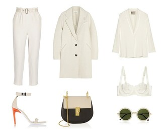fashion vibe blogger outfit off-white white shoes round sunglasses coat bag shoes jacket sunglasses underwear pants
