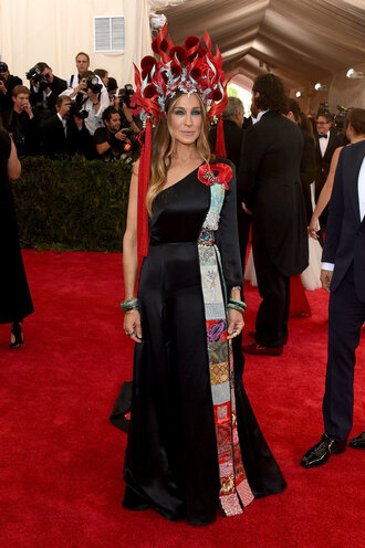 dress gown one shoulder red carpet sarah jessica parker met gala metgala2015