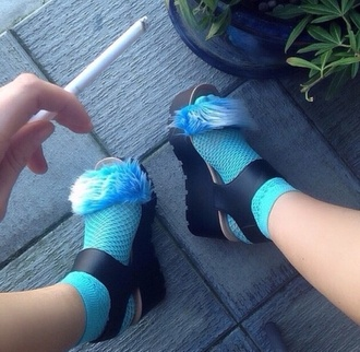 blue black socks style fashion fur kaliuchis_ tumblr outfit