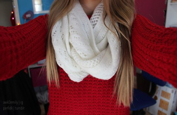 white scarf cute sweater white scarf red knitted scarf chunky scarf knitwear blonde
