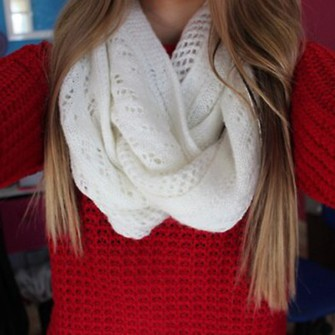 sweater red scarf cute knitted scarf white knitwear blonde hair chunky scarf white scarf scarf red