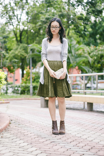 pupuren blogger skirt olive green