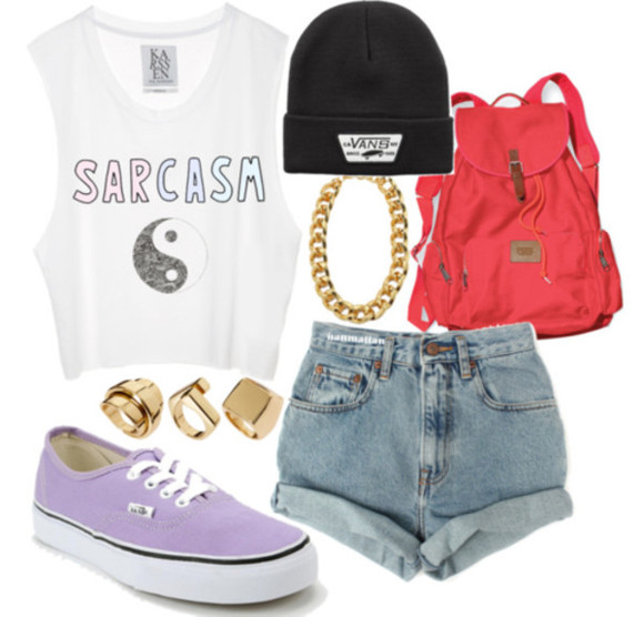 shorts red shoes shirt white bag black cute tanktop lila lilac backpack beanie high waisted short lovely pepa