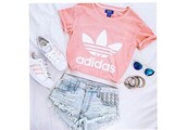 t-shirt,shirt,adidas,pink,crop tops,shorts,outfit,white,adidas shoes,denim shorts,shoes,style me,pastel,cute,sweater,adidas supercolor,purple,cartoon,the little mermaid
