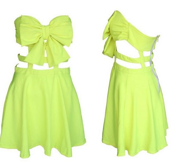 Cute bow hot strapless dress