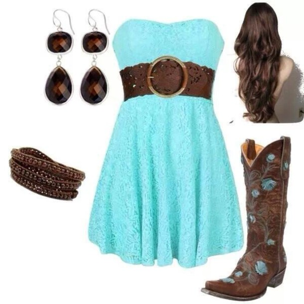 df91b683f58 dress blue dress red dress cute lovely belt brown belt earrings cowboy  boots boots cowboy cowboy