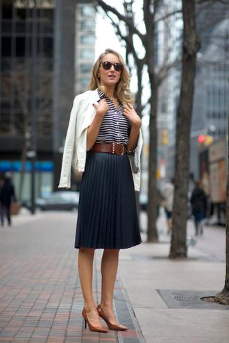 the classy cubicle skirt jacket shirt blouse belt jewels shoes sunglasses