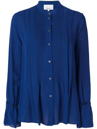 shirt pleated long women blue silk top