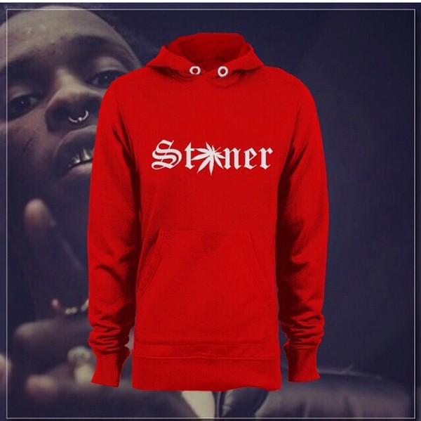 hoodie sweater stoner weed red long sleeves