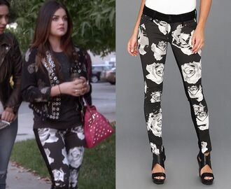 jeans pants black and white rose flowers black jeans pretty little liars lucy hale aria montmogery