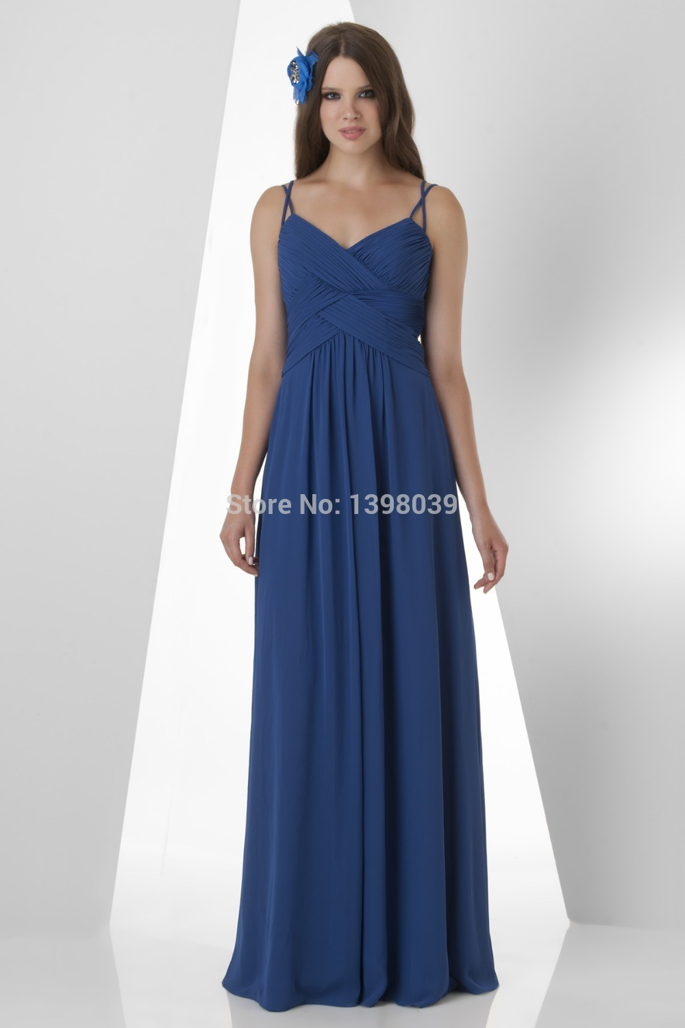 Aliexpress.com : Buy Spaghetti Straps Royal Blue Chiffon Bridesmaid Dresses 2014 Long Elegant Formal Dress Gowns from Reliable dress slip suppliers on Silence Angle