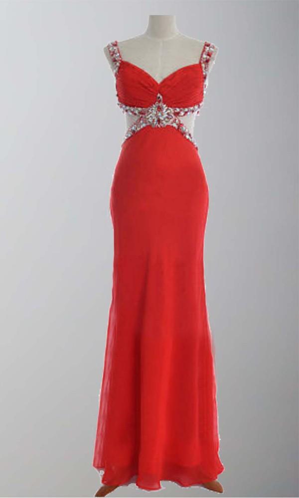 red dress long prom dress sheath column sexy dress sexy formal dress sequin dress diamond criss-cross band cute dress