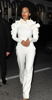dress,jumpsuit,white jumper,white pants,white flowers,couture,blouse,cream