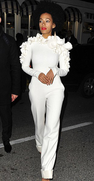 dress jumpsuit white jumper white pants white flowers couture blouse cream