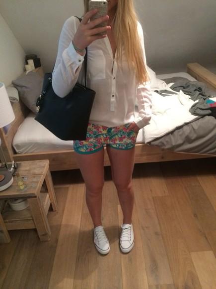 jeans floral shorts floral tank top white dress white bodycon dress