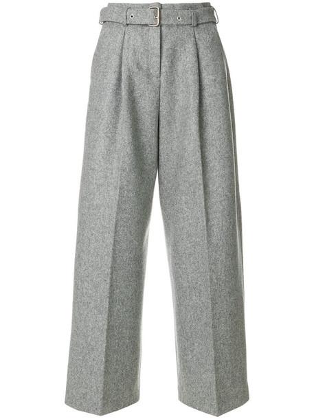 YMC - belted wide leg pants - women - Wool/Polyamide/Acetate - S, Grey, Wool/Polyamide/Acetate