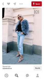 coat,sweden,blue,blogger,fashion,fur coat,fur,faux fur,winter look,blue fluffy coat,snake print ankle boots,shoes,printed boots,printed ankle boots,ankle boots,boots,mid heel boots,thick heel,block heels,animal print,snake print,denim,jeans,light blue jeans,top,black top,blue coat,sunglasses,streetstyle,winter outfits,winter coat,tumblr,fuzzy coat,fluffy,sweater,black sweater,blue jeans