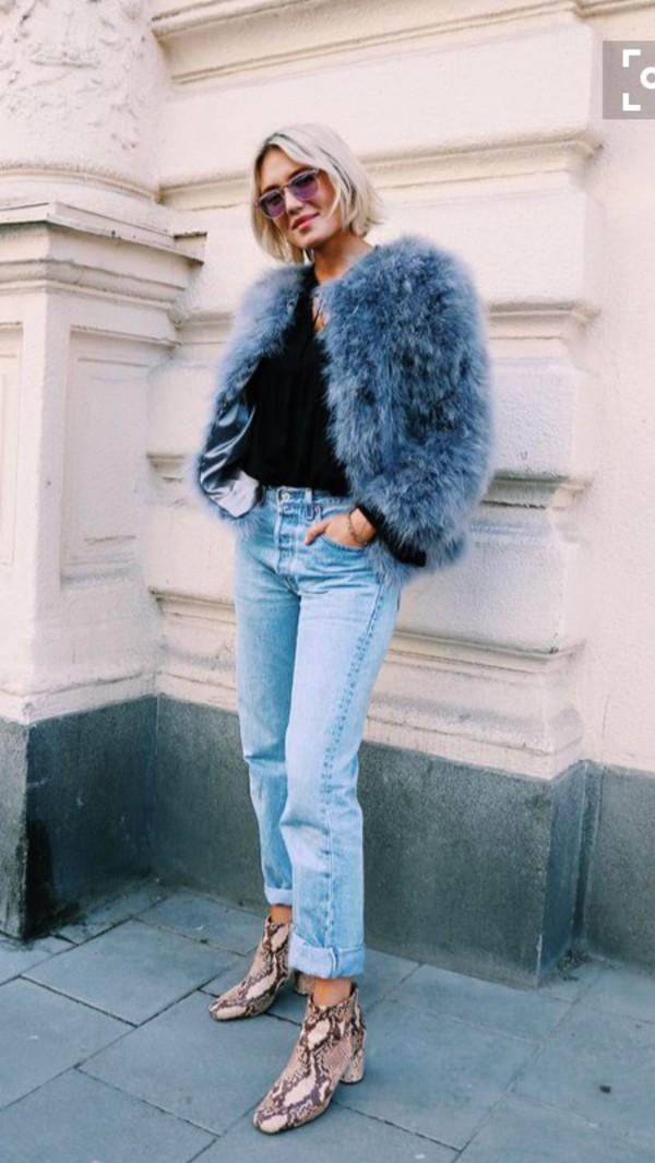 Coat Sweden Blue Blogger Fashion Fur Coat Fur Faux