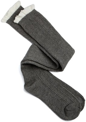 Charlotte Russe Pointelle Ribbed Ruffle-Topped Over-the-Knee Socks