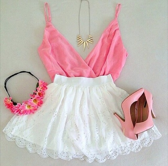 deep v neck shirt blouse pink skirt top shoes jewels hat