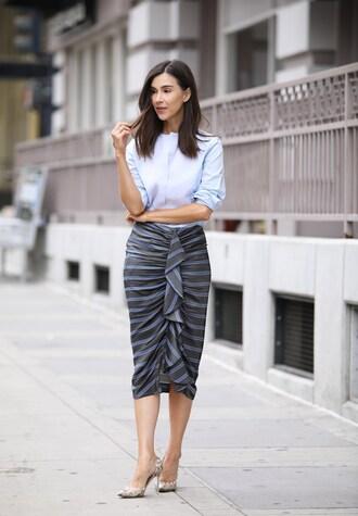 inspades blogger skirt shirt shoes jewels midi dress pumps high heel pumps blue shirt summer outfits