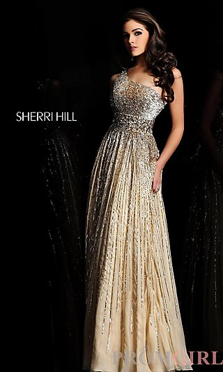 One Shoulder Sequin Prom Gowns, Sherri Hill Prom Dresses-PromGirl