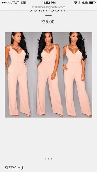 jumpsuit pink light pink pastel pink blush pink baby pink blush necklace statement necklace v neck wide leg nude peach wide-leg pants summer summer outfits party party outfits classy date outfit romantic cute girly
