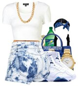 shorts,white tee,white,blue,acid washed shorts,gold chain necklace,bandana,bandana print,sprite,cute watch,dope,purse,jordans,braided hair,shoes,shirt