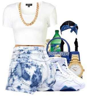 shorts white tee white blue acid washed shorts gold chain necklace bandana bandana print sprite cute watch dope purse jordans braided hair shoes shirt