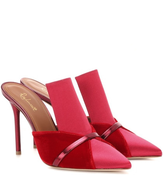 Malone Souliers Danielle satin and velvet mules in red