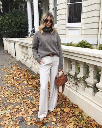 sweater brown bag tumblr grey sweater turtleneck turtleneck sweater pants white pants wide-leg pants fall outfits bag sunglasses