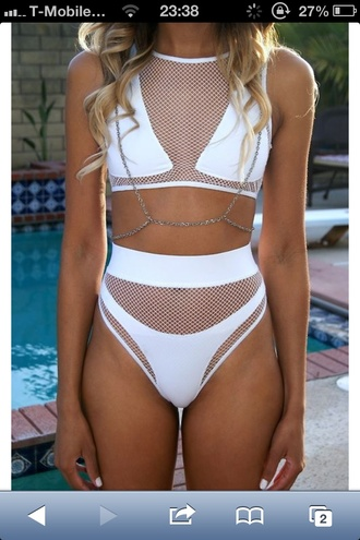 swimwear bikini white bikini string net