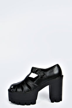 Annie Cut Work T Bar Cleated Plaform Heels