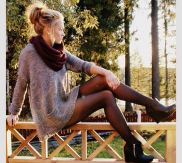 pinterest fashion shorts sweater tights heels grey sweater oversized sweater long sweater high heels scarf beautymanifesto
