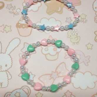 jewels bracelets pastel pearl stars heart cute kawaii accessorie