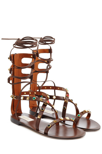 embellished sandals leather sandals leather brown shoes