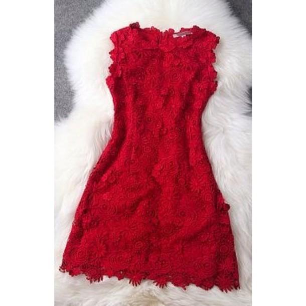 dress red dress lace dress bodycon dress