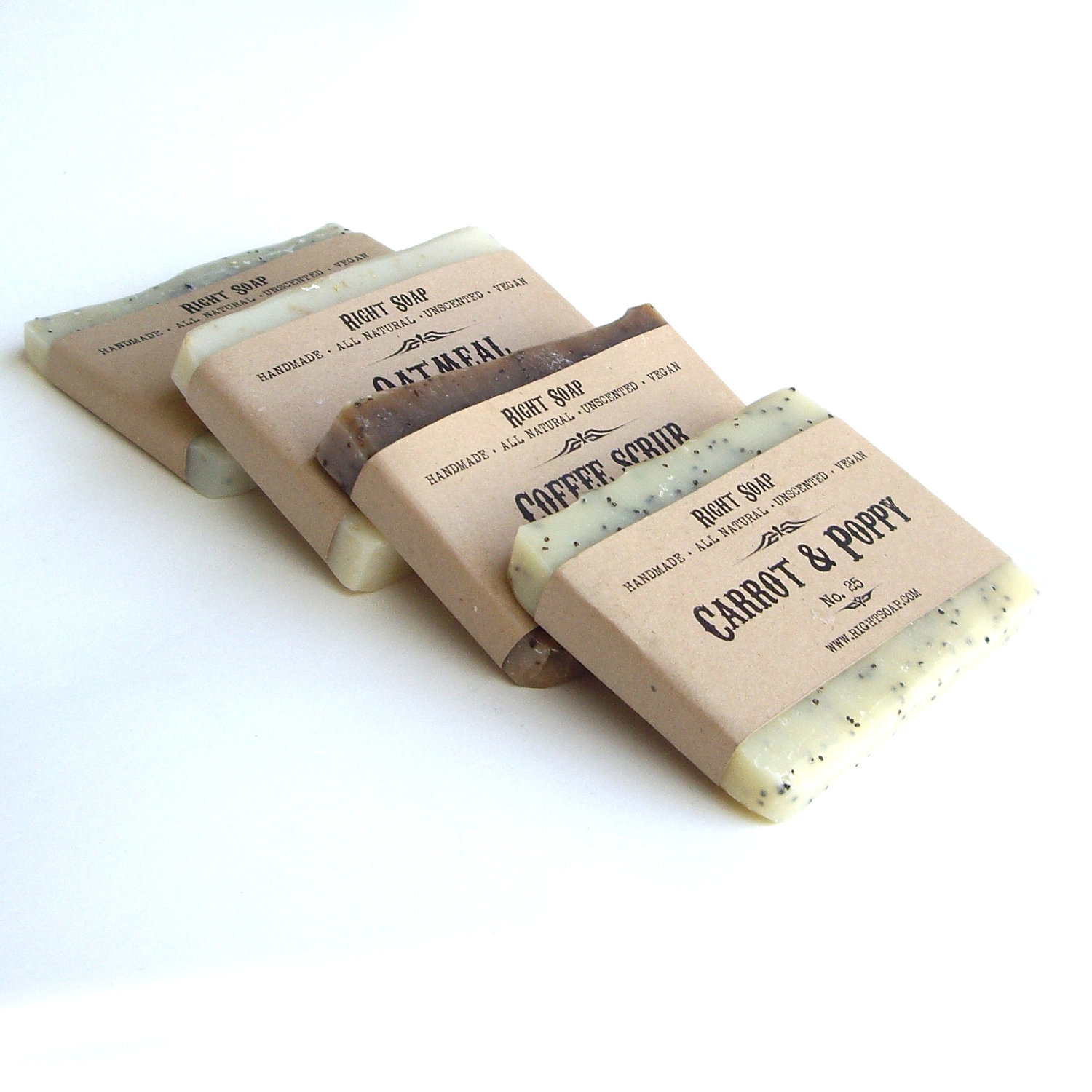 Stocking stuffer, Soap Sampler EXFOLIATOR - SCRUB Soap, Unscented Soap, Vegan Soap, All Natural Soap,