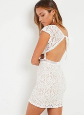 dress,lace white detailed open back