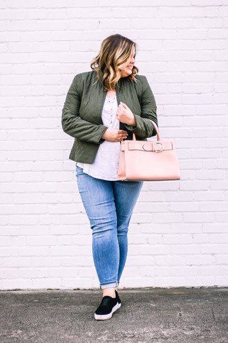 stylishsassy&classy blogger jacket top jeans shoes bag green jacket winter outfits plus size handbag