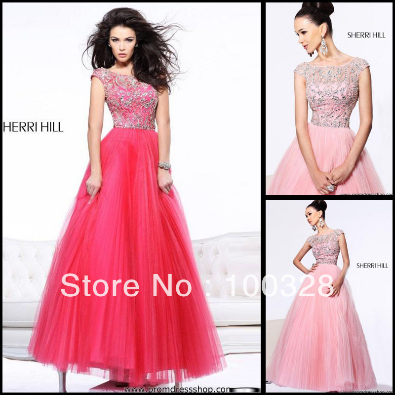 da4166fde8794 Aliexpress.com : Buy Custom Made Crystal Beaded Red Pink Tulle Ball Gown  Free Shipping Floor Length Long Modest Short Sleeves Prom Dress from  Reliable ...