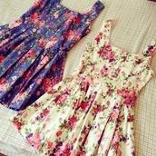dress,floral,flowers,vintage,retro,cute,pretty,casual,girly,floral dress,short dress,sweet,wow,flower print skater dress
