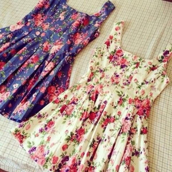 dress floral flowers flowers vintage retro dress cute pretty casual girly floral dress short dress sweet wow floral dress floral flower print skater dress