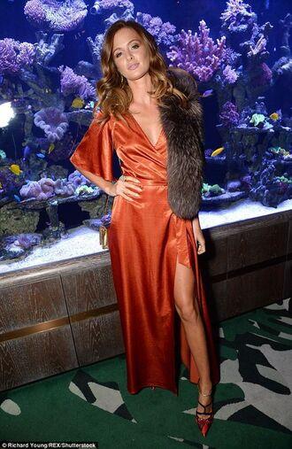 dress burnt orange wrap dress millie mackintosh satin dress satin gown long prom dress prom dress robe dress