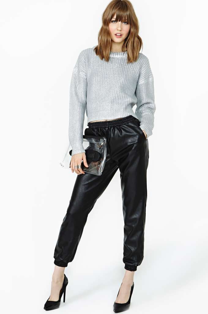Lucca Couture Street Faux Leather Track Pant in  Clothes Bottoms Pants at Nasty Gal
